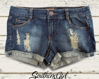 Blue Denim Low Rise Distressed Shorts. Festival Shorts. Distressed Shorts,