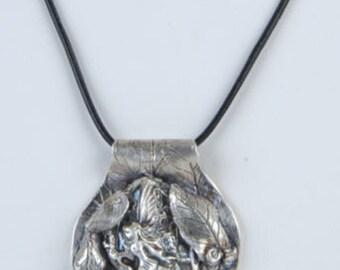 "Artisan Original Handmade Fine PMC .999 Fine Silver ""Marafae Faerie"" Fairy Pendant on Leather Cord"