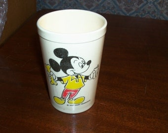 REDUCED: Vintage Walt Disney Productions 5oz Plastic Juice Cup by Eagle Featuring Mickey, Donald, Pluto and made in USA