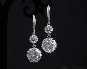 CZ bridal earrings Clear crystal drop earrings Round Cubic Zirconia silver dangle earrings, Wedding jewelry, Classic diamond look earrings