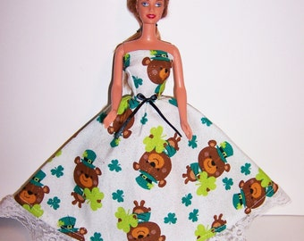 Fashion Doll Clothes-Glittery Shamrock/Bear Print Strapless Dress