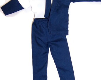 Male Fashion Doll Clothes-Navy Blue Jacket,Pants & Tie -White Shirt