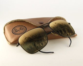 Rare Ray-Ban Caravan Vintage Sunglasses by Bausch & Lomb  - 80s Sunglasses mirrored lens - Authentic Rare Vintage Ray-Ban Sunglasses -  NBW