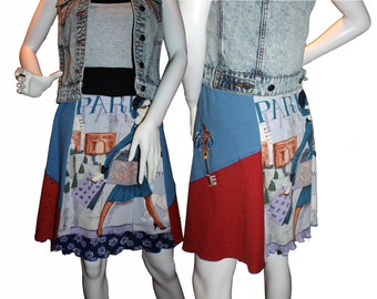 Jersey Knit Skirts (M) ' Paris Shopping'  (Women's Size L ) from our CARAUT collection of repurposed clothing.