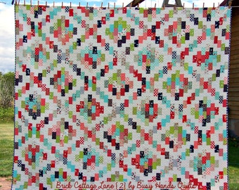 Quilt Pattern, PDF Quilt Pattern, Scrappy Quilt, Baby, Lap, Twin, Queen, King, Brick Cottage Lane 2, Busy Hands Quilts, BHQ0716012