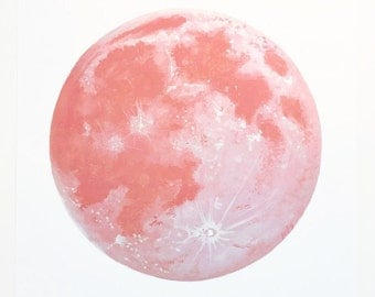 Pink Moon Print, Dreamy Moon Print, Red Moon, Moon Art, Moon Decor, Boho Art, Moon Painting, Moon Artwork, Strawberry Moon, Lunar Art