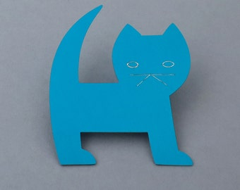 Cat Pin, fun colorful cat brooch, cat lover, unique kitten pin, handcut simple silhouette cat, lightweight aluminum pin, individually made