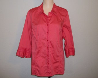 Womens Shirts Blouse Size 2X Tunic Top Womens Shirts Casual 3/4 Sleeve Shirt Cotton Coral Size 22 Size 24 Plus Size Clothing Womens Clothing