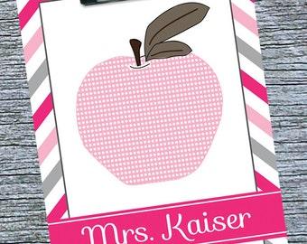 Teacher Clipboard, Elementary Teacher Gift, Favorite Teacher Gift Idea, End of Year Personalized Teacher Gift, Pink Apple, Teacher Thank You
