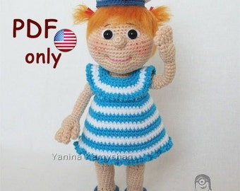 Ellie the Sailor girl, amigurumi crochet pattern