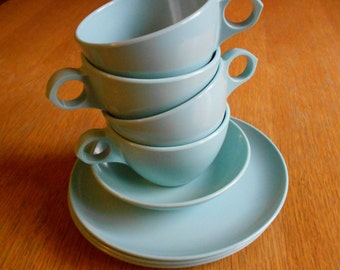 Assortment of Vintage Windsor-Melmac Light Blue Cups and Plates