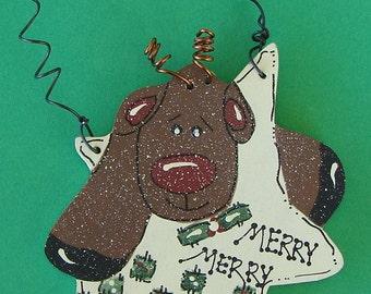Wood Reindeer Christmas ornament