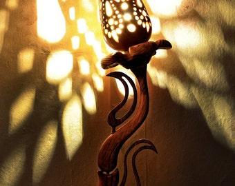 CHAKRUNA  /2nd ed/ - Handmade Wooden Lamp, Cosiness lamp, Natural Wood Lamp, Unique lamp shades, Table lamp, Desk lamp, Wood Plastic, Flower