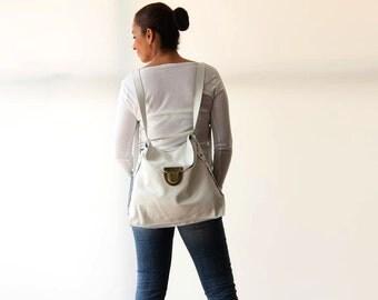White Leather Bag, Women's Leather Backpack, White Leather Tote Bag, Convertible Bag, Crossbody Bag, Shoulder Bag, Women's Bag, Laptop Bag