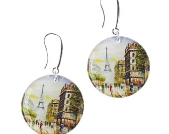 Paris Earrings // Art Print Earrings // bridesmaid gift