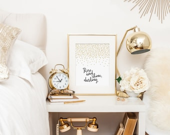Bedroom Decor, Rise and Shine Darling, Good Morning Beautiful - Modern Nursery Art Print, Black and Gold Nursery - Instant Download