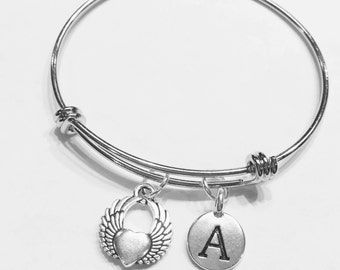 Initial Bangle Bracelet, Gift For Her, Angel Wing Bracelet, Angel Wing Heart Bangle, Daughter Niece Gift Bangle Charm Bracelet