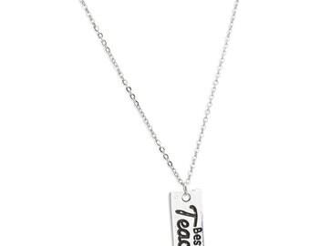 Best Teacher Necklace or Keychain - Teachers Gift - Gift For Teacher - New Teacher Gift- Student Teacher Gift - Teach Love Inspire