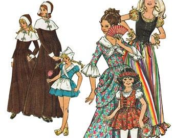 Colonial Girl Costume Pattern Dutch Girl Gypsy Girl Costume 1970s Sewing Pattern Butterick 5979 Girls Size 12 Bust 30 UNCUT