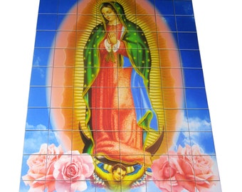 Religious wall art - Our Lady of Guadalupe - CUSTOMIZABLE - Virgin Mary art - catholic wall art - tile mural - religious mosaic - christian