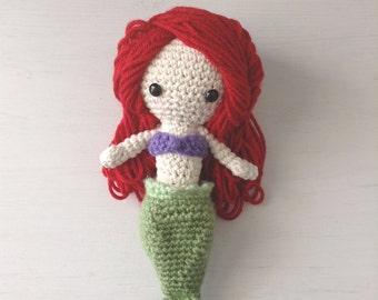 Handmade Mermaid doll with detachable tail fin, crochet