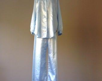 M / Baby Blue Satin Pajama Set / Women's Vintage Sleepwear Pajamas / Size Medium