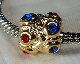 Blue Red CZ Crystal Gold Charm/Spacer-Red & Blue CZ Crystals  Abstract Charm - Fits all Designer and European charm bracelet