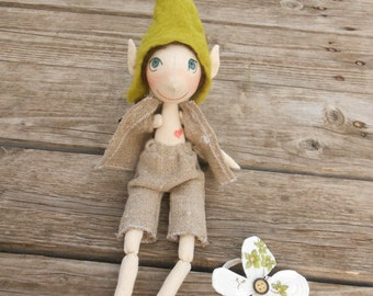 Unique Fabric Doll , Christmas Dolls , Unique Elf Doll , Organic Doll , Elf Fabric Doll, Natural Fabric Doll, Waldorf Fabric Doll, Elf Doll