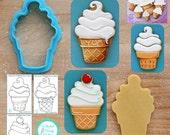 Swirl Ice Cream Cone Cookie Cutter & Fondant Cutter - *Guideline Sketch to Print Below*