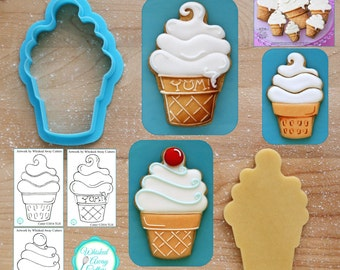 Swirl Ice Cream Cone Cookie Cutter & Fondant Cutter - *Guideline Sketch to Print Below*