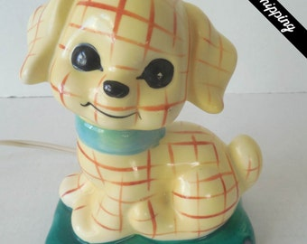 Vintage 1960s/1970s Ceramic Puppy Night Light
