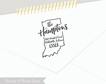 Custom Address Indiana Stamp  .   Return Address State Stamp  .  Personalized Stamp  .  Wooden Handle  .  Wedding Stamp