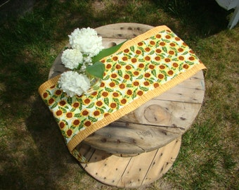 Reversible Sunflowers Table Runner, Orange, Yellow, Brown, Green Leaves