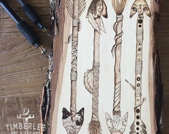 Pyrography arrow art on a Basswood plank. Native American arrow theme. Arrow artwork, designed and  hand created by Timberlee Pyrography