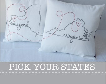 Connecting States New York Florida with Hearts Embroidered Custom Decorative Housewarming Throw Pillow Cover Set New Jersey California