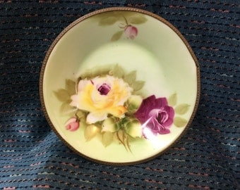 Rose Floral Nut Dish with Gold Tone Metal Rim, Lefton Nut Dish, Pin Dish, Trinket Dish, Lefton 6892, Lefton Ashtray, 1950s,