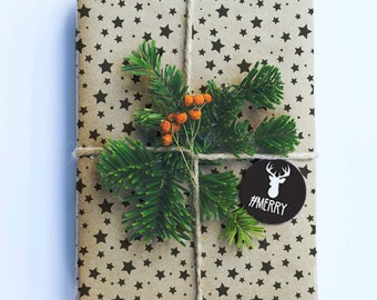 Christmas Wrapping Paper, Star Pattern Kraft Paper