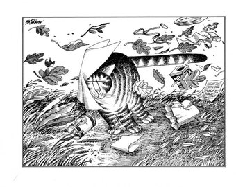 fall autumn Kliban cat cartoon funny vintage print cat in a storm wind feline illustration 8.5 x 10.25 inches