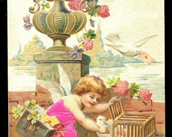 1907 Silk Clothing Cherubs Valentines Day Postcard