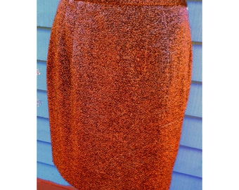 Vintage  80's Copper Metallic Sexy Mini Skirt by Carmen Marc Valvo Size 8 Made in Hong Kong Fully Lined