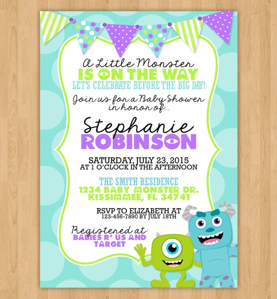 Monsters inc baby shower invitations monsters inc baby shower ideas monsters inc inspired baby shower invitation by little filmwisefo