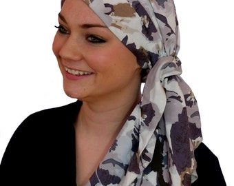 Carlee Pre-Tied Head Scarf, Women's Cancer Headwear, Chemo Scarf, Alopecia Hat, Head Wrap, Head Cover for Hair Loss - Mystic Gray