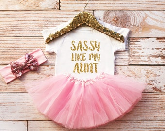Sassy Like My Aunt Onesie, Sassy Aunt, Baby Girl Bodysuit, Baby Girl Clothes, Baby Girl Outfit, Girl Coming Home Outfit, Baby Shower Gift