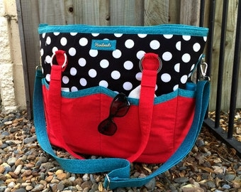 Beach bag, Summer Lovin' Beach Tote, large tote bag, large beach bag, beach tote, large diaper bag, red black bag
