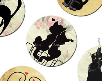 Digital Collage Sheet  Black Cat 1 inch round images Scrapbooking Pendants Printable Original  Vintage 4x6 inch sheet  213