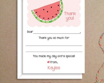 Fill-in Thank You Notes - Watermelon Flat Notes - Childrens Thank You Cards- Illustrated Note Cards