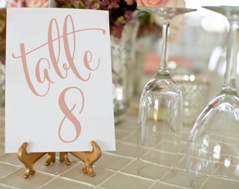 Rose Gold Wedding Table Numbers ⋆ 1-50 Printable Wedding Table Numbers ⋆ Rose Gold Wedding Decor ⋆ DIY Table Numbers ⋆ 5x7 ⋆ #KKD105