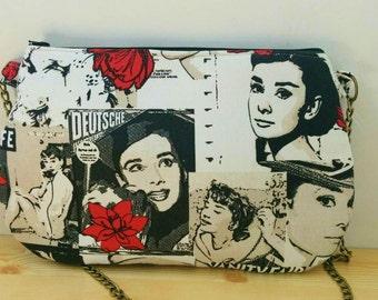 Audrey bag,Audrey clutch, Audrey print bag, Audrey Hepburn, chain bag, cross body,canvas bag, quilted bag, audrey handbag, audrey tote