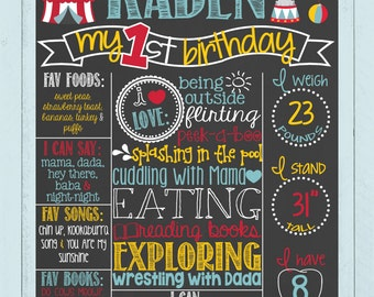 Carnival Circus Theme First Birthday Chalkboard Poster | Circus Animals Chalk Board | Boy Birthday | Monkey | Tent | *DIGITAL FILE*