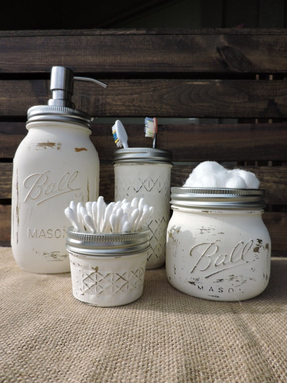Mason jar bathroom set mason jar bath set mason jar decor for Bathroom decor mason jars